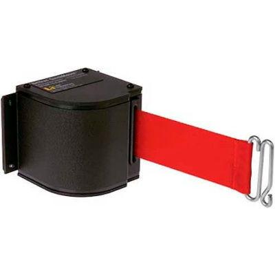 Lavi Industries Black Quick Mount Barricade, 18'L Red Retractable Belt, Modified Mount