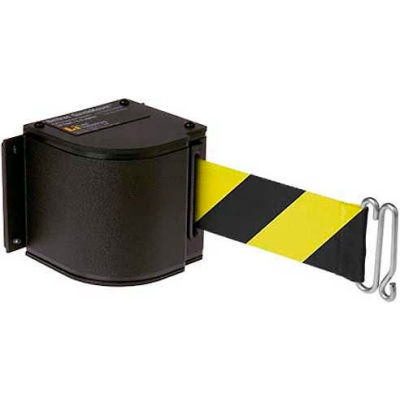 Lavi Industries Black Quick Mount Barricade, 18'L Safety Blk/Yellow Retractable Belt, Modified Mount