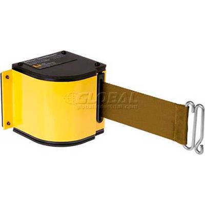 Lavi Industries Yellow Quick Mount Barricade, 18'L Bronze Retractable Belt, Modified Mount