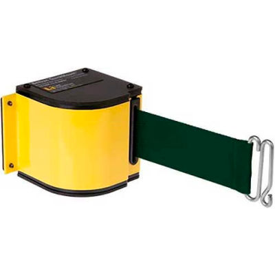 Lavi Industries Yellow Quick Mount Barricade, 18'L Forest Green Retractable Belt, Modified Mount