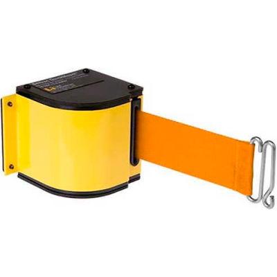 Lavi Industries Yellow Quick Mount Barricade, 18'L Orange Retractable Belt, Modified Mount