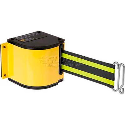 Lavi Industries Yellow Quick Mount Barricade, 18'L Blk/Neon Yellow Retractable Belt, Universal Mount