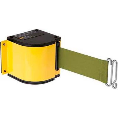 Lavi Industries Yellow Quick Mount Barricade, 18'L Olive Green Retractable Belt, Universal Mount