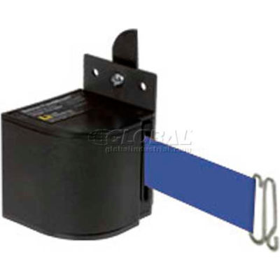Lavi Industries Fixed Mount Safety Barricade, Wrinkle Black, 18'L Blue Retractable Belt