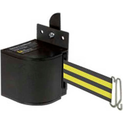 Lavi Industries Fixed Mount Safety Barricade, Wrinkle Black, 18'L Black/Neon Yellow Retractable Belt