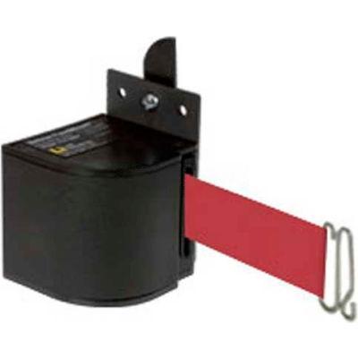 Lavi Industries Fixed Mount Safety Barricade, Wrinkle Black, 18'L Burgundy Retractable Belt