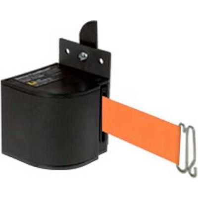 Lavi Industries Fixed Mount Safety Barricade, Wrinkle Black, 18'L Orange Retractable Belt