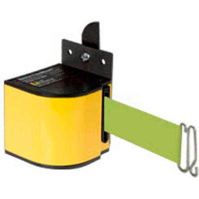 Lavi Industries Fixed Mount Safety Barricade, 18'L Fluorescent Yellow Retractable Belt