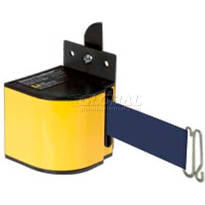 Lavi Industries Fixed Mount Safety Barricade, Safety Yellow, 18'L Navy Blue Retractable Belt