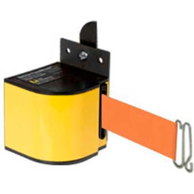 Lavi Industries Fixed Mount Safety Barricade, Safety Yellow, 18'L Orange Retractable Belt