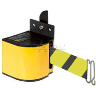 Lavi Industries Fixed Mount Safety Barricade, Safety Yellow, 18'L Black/Yellow Retractable Belt