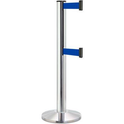"""Lavi Industries Beltrac 3000 Crowd Control, 40""""H Chrome Post, 13'L Blue Double Belt"""