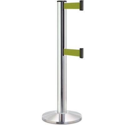 "Lavi Industries Beltrac 3000 Crowd Control, 40""H Chrome Post, 13'L Olive Green Double Belt"