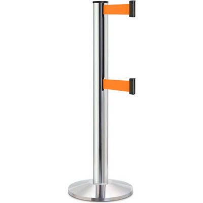 "Lavi Industries Beltrac 3000 Crowd Control, 40""H Chrome Post, 13'L Orange Double Belt"