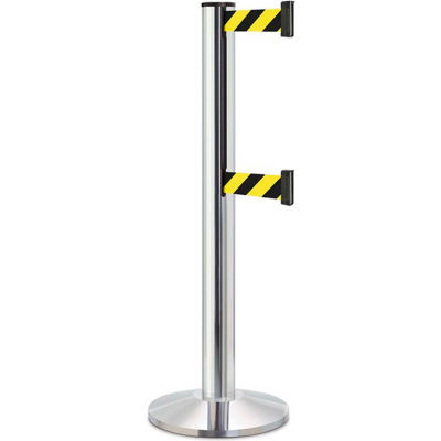 "Lavi Industries Beltrac 3000 Crowd Control, 40""H Chrome Post, 13'L Safety Black/Yellow Double Belt"