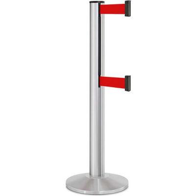 "Lavi Industries Beltrac® Retractable Dual Belt Barrier, 40"" Silver Post, 13' Red Belt"