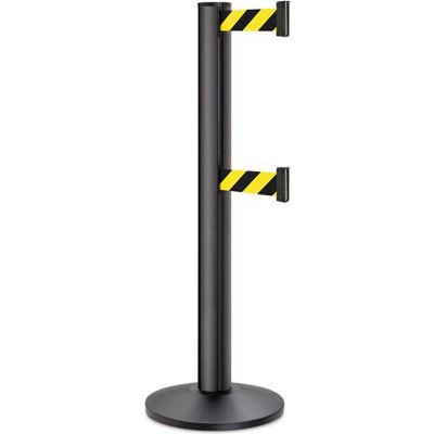 "Lavi Industries Beltrac 3000 Crowd Control, 40""H Black Post, 13'L Safety Black/Yellow Double Belt"