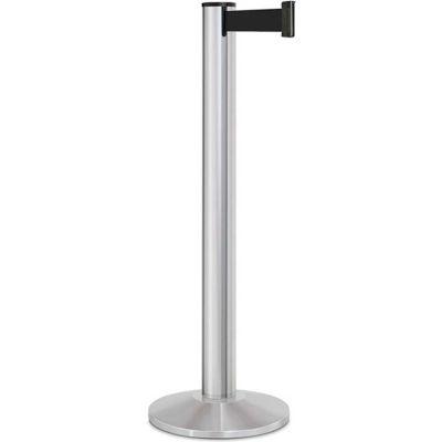 "Lavi Industries Beltrac® Retractable Belt Barrier, 40"" Silver Post, 13' Black Belt"
