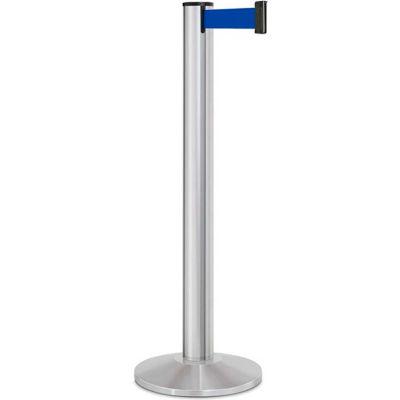 "Lavi Industries Beltrac® Retractable Belt Barrier, 40"" Silver Post, 13' Blue Belt"