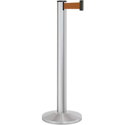 "Lavi Industries Beltrac® Retractable Belt Barrier, 40"" Silver Post, 13' Bonze Belt"