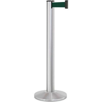 "Lavi Industries Beltrac® Retractable Belt Barrier, 40"" Silver Post, 13' Forest Green Belt"