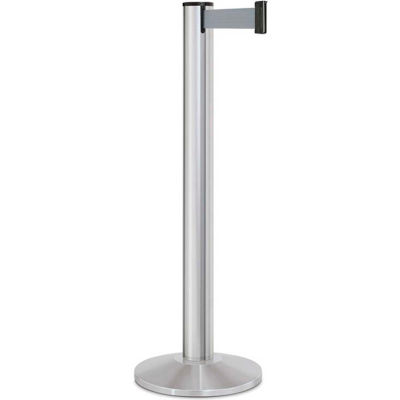 "Lavi Industries Beltrac® Retractable Belt Barrier, 40"" Silver Post, 13' Gray Belt"