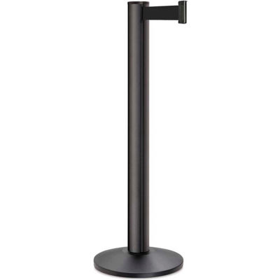 "Lavi Industries Beltrac 3000 Stanchion, 40""H Black Post, 13'L Black Retractable Belt"