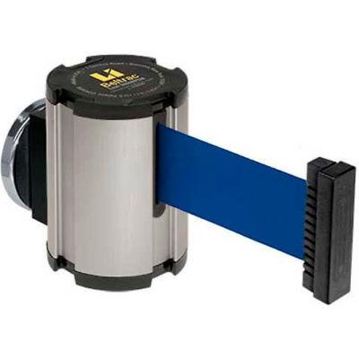 Lavi Industries Satin Magnetic Wall Mount Unit, 13'L Blue Retractable Belt