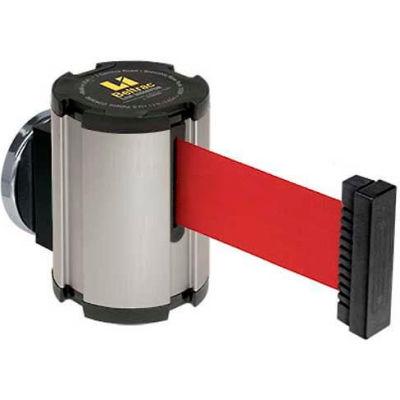 Lavi Industries Satin Magnetic Wall Mount Unit, 13'L Red Retractable Belt