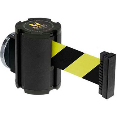Lavi Industries Wrinkle Black Magnetic Wall Mount Unit, 13'L Safety Black/Yellow Retractable Belt