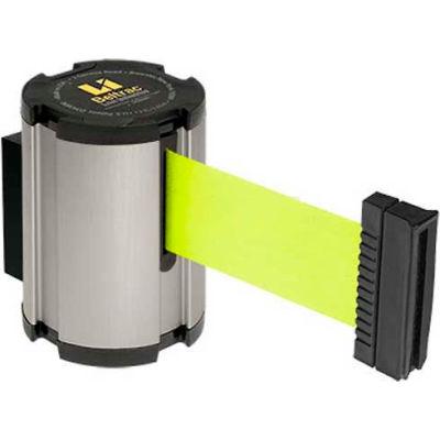 Lavi Industries Retractable Belt Barrier, Satin Wall Mount, 13'L Fluorescent Yellow Belt