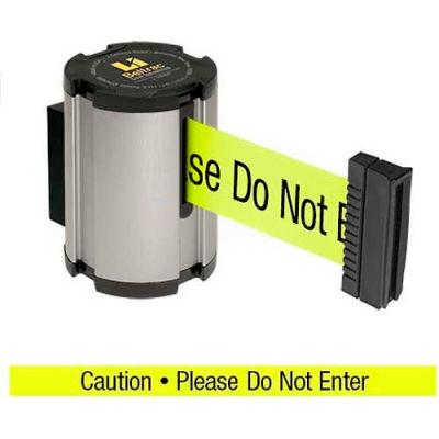 "Lavi Industries Retractable Belt Barrier, Satin Wall Mount, 13'L ""Caution - Do Not Enter"" Belt"
