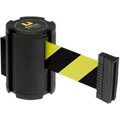 Lavi Industries Retractable Belt Barrier, Wrinkle Black Wall Mount, 13'L Safety Black/Yellow Belt