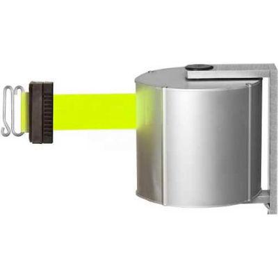 Lavi Industries JetTrac Wall-mount, 65'L Fluorescent Yellow/S Retractable Belt, S-Hook