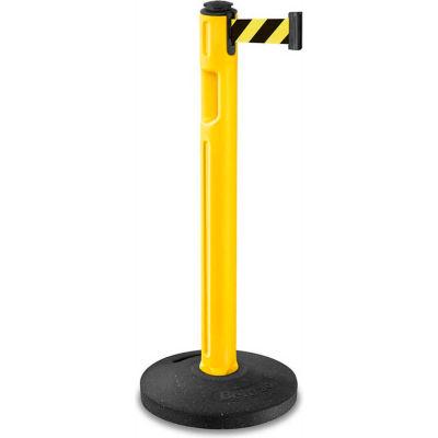"Lavi Industries Tempest Retractable Belt Barrier, 38-1/4"" Yellow Post, 12' Black/Yellow Belt"