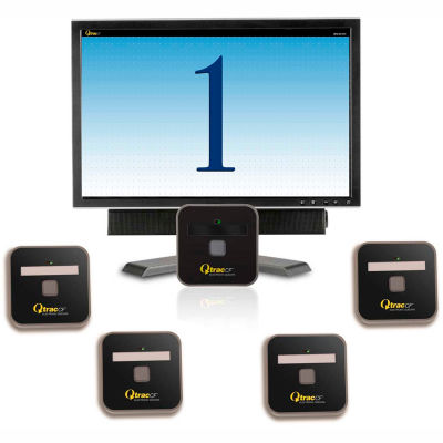 "Qtrac® Plug and Play, 22"" LCD Cool Blue Display, 5 Remotes"