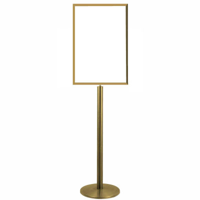 Tensator Sign Stand Frame - Polished Brass With Flat Base 28 X 22