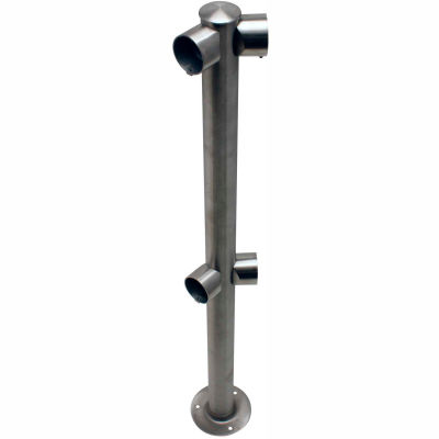 Tensabarrier Fixed Railing System Satin SS Dual Line Adapta-Rail Angle Post