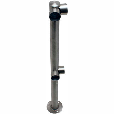 Tensabarrier Fixed Railing System Polished Chrome Dual Line Adapta-Rail Corner Post