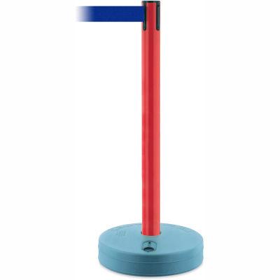 Tensabarrier Red Outdoor Post 7.5'L Blue Retractable Belt Barrier