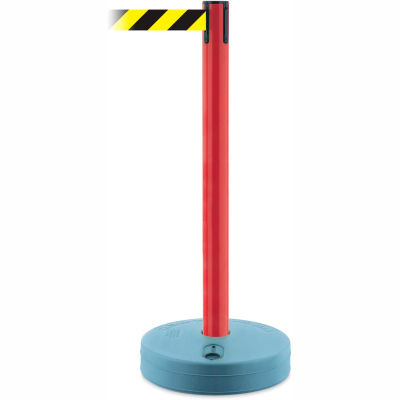 Tensabarrier Crowd Control, Queue Stanchion Retractable Barrier Plastic, Red W/ 7.5' Black/Yllw Belt