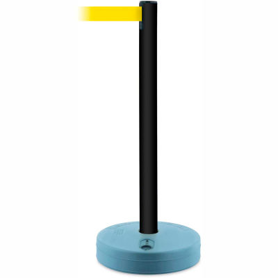 Tensabarrier Crowd Control, Queue Stanchion Retractable Barrier Plastic Post, Black 7.5' Yellow Belt