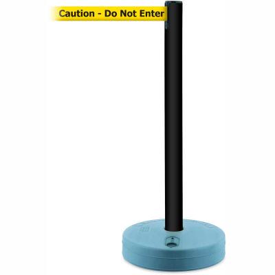 Tensabarrier Black Outdoor Post 7.5'L BLK/YLW Caution-Do Not Enter Retractable Belt Barrier