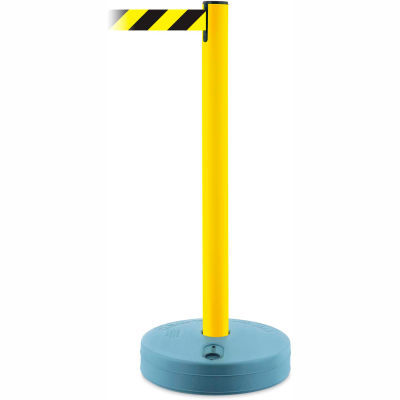 Tensabarrier Crowd Control, Queue Stanchion Retractable Barrier Plastic, Yllw W/ 7.5' Blk/Yllw Belt