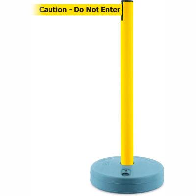 """Tensabarrier Crowd Control, Queue Stanchion Retractable Barrier Plastic, Yllw W/ 7.5' """"Caution"""" Belt"""