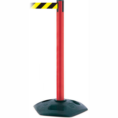 Tensabarrier Crowd Control, Queue Stanchion Retractable Barrier Plastic, Red W/ 7.5' Blk/Yellow Belt