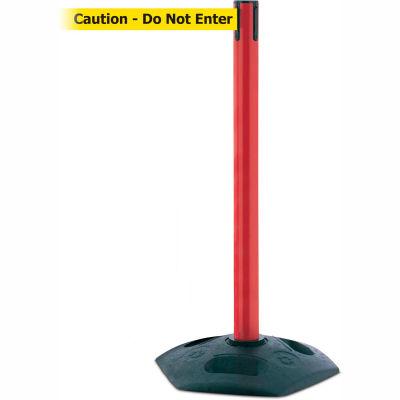 Tensabarrier Red Heavy Duty Post 7.5'L BLK/YLW Caution-Do Not Enter Retractable Belt Barrier