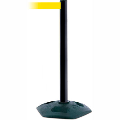 Tensabarrier Crowd Control, Queue Stanchion Retractable Barrier Plastic Post, Blk W/ 7.5' Yllw Belt