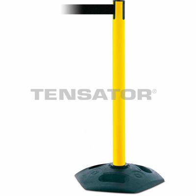 Tensabarrier Crowd Control, Queue Stanchion Barrier Plastic Post, Yllw W/ 7.5' Blk Retractable Belt