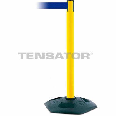 Tensabarrier Yellow Heavy Duty Post 7.5'L Blue Retractable Belt Barrier